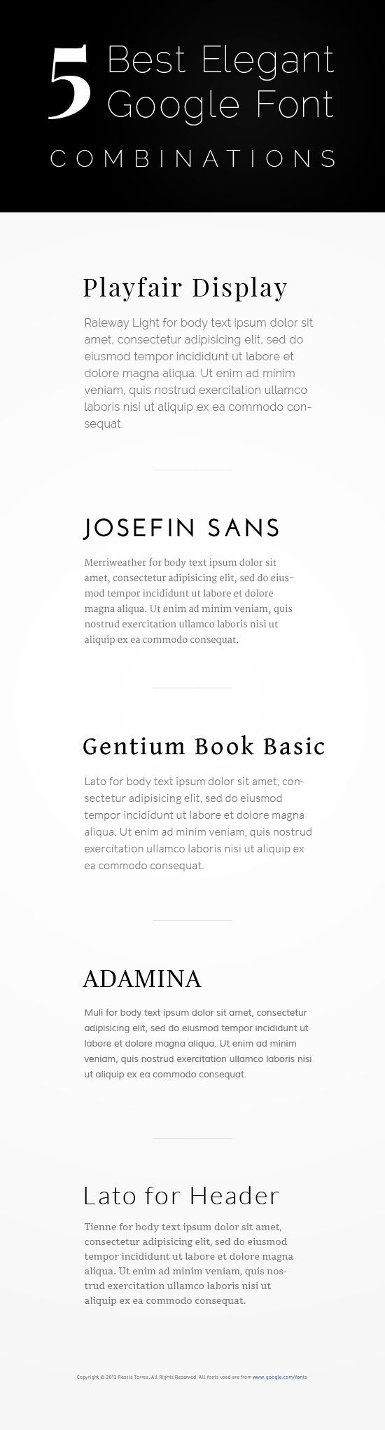 5 Best Elegant Google Font Combinations-  Fonts likt these are closest to what I want in the site.