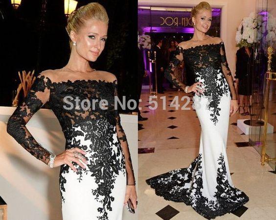 2015 Vestido De Festa O Neck Full Sleeve Lace Appliques Long Mermaid Evening Dresses Women Formal Party Dress