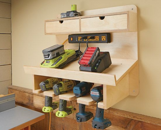 Cordless Drill Charging Station Woodsmith Plans This Wall Mounted Station Will Ensure That All Your Cor Diy Garage Storage Garage Woodshop Tool Storage Diy