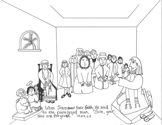 Jesus heals jesus and the o 39 jays on pinterest for Jesus heals a paralytic coloring page