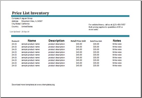 price list inventory template at http\/\/wwwxltemplatesorg\/price - sample product description template