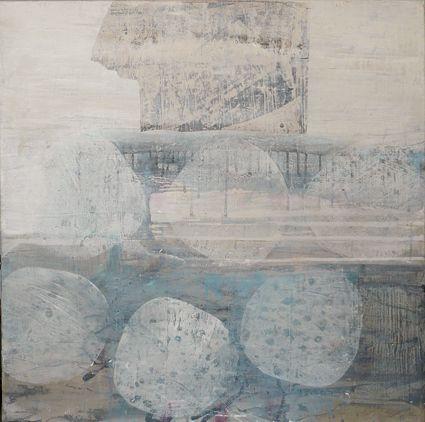 Petra Ehrnsperger O.T., 2012, Acryl/Collage auf Leinwand, 80x80 cm