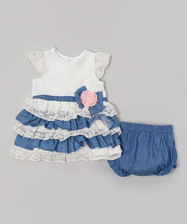 Love this White Lace & Chambray Tiered Dress & Diaper Cover by Baby Essentials on #zulily! #zulilyfinds