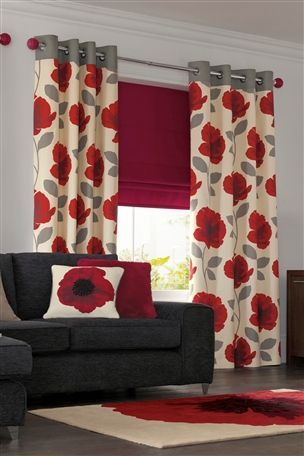 Red Poppy Print Lined Eyelet Curtains From The Next Uk