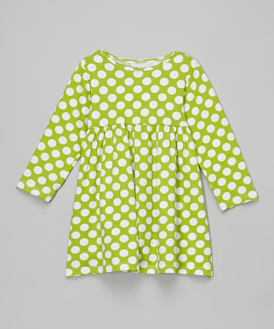 Love this Flap Happy Green & White Polka Dot Babydoll Dress - Infant, Toddler & Girls by Flap Happy on #zulily! #zulilyfinds