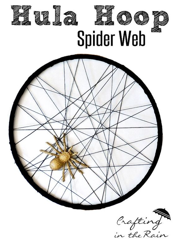 Glitter Spider and Hula Hoop Web | Crafting in the Rain #halloween #spider