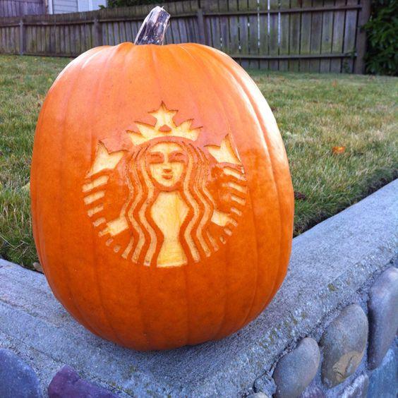 My starbucks siren pumpkin carving artsy pinterest