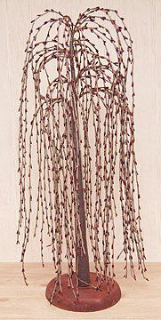 Burgundy Pip Berry Weeping Willow Tree Country Primitive Floral Décor ** Click image for more details.
