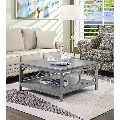 Omega Gray Square 36 Inch Coffee Table Coffee Table Coffee Table Square Coffee Table Grey