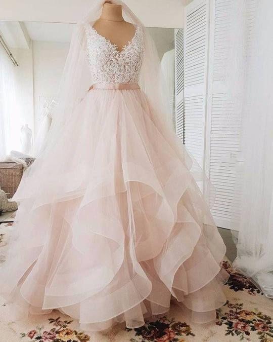 Ball Gown Blush Wedding Dress With Tiered Skirt Gaun Perkawinan Gaun Pengantin Brokat Gaun Pengantin Tulle