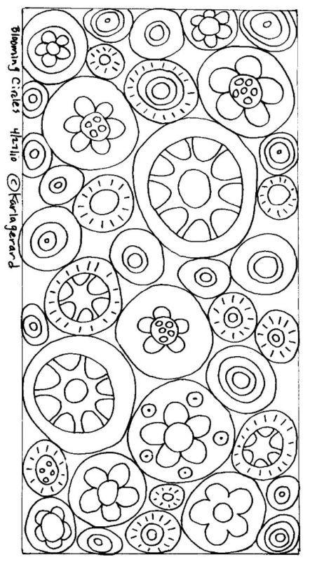 RUG HOOK PAPER PATTERN Blooming Circles FOLK aRT KarlaG | eBay