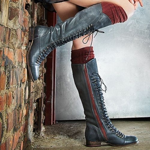 2013 New Knee High Lace Up Combat Boots - Black Leather Red Zip ...