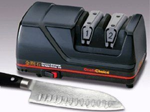 Chefs Choice Electric Knife Sharpener - Asian Knives by Chef's Choice. $79.99. 7764978. Cookware. This professional, two stage electric knife sharpener is designed especially for Asian-style knives (such as Santoku knives) and creates the Asian knife factory-edge known for its thin profile and razor sharpness. The sharpener incorporates two-stage sharpening for stronger edges and faster results: the first stage (honing) uses fine 100% diamond abrasive and the second stage (p...