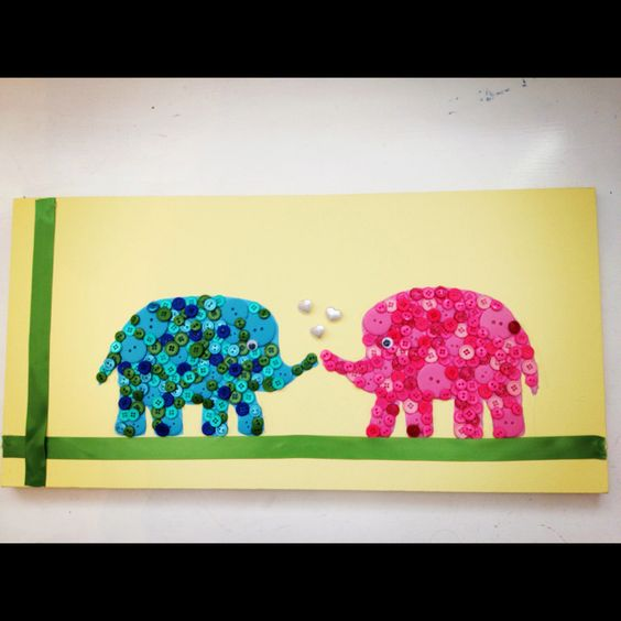 My button animal rendition; on painted canvas