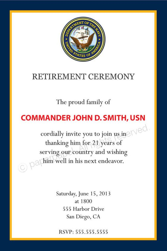 Military Retirement Party Invitations with amazing invitation sample