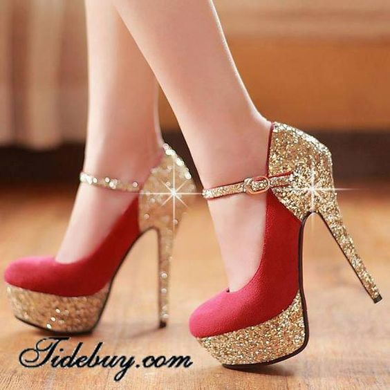Gold Shimmer and Royal Red High Heel Platform Shoes | Zapatos ...
