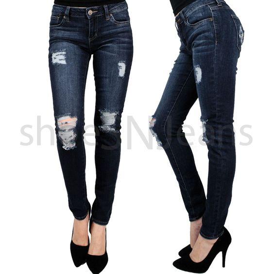 New Women Sexy Destroyed Knee Crop Dark Blue Wash Denim Stretch Pants  Jeans #JustUSA #Skinny