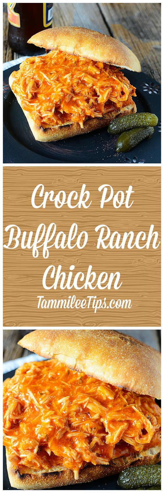 Simple Crock Pot Spicy Buffalo Ranch Chicken Sandwich Recipe! Only 3 ingredients needed to make this recipe. Perfect for Super Bowl or any day of the week. This easy slow cooker recipe is a family favorite!: