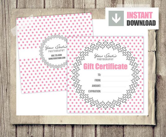 Gift Card Gift Certificate Template for by PhotographTemplates - photography gift certificate template