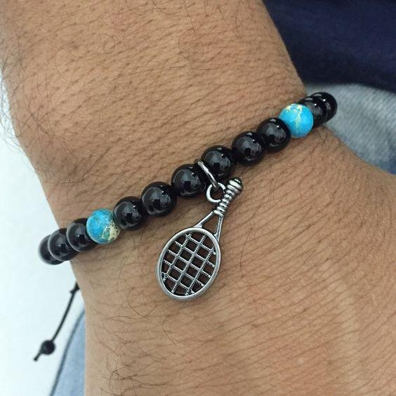 Pulseira Masculina Pedras Naturais Onix Jaspe Marinho Raquete Tenis mens bracelets fashion style