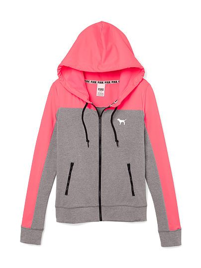 Perfect Funnel Neck Full-Zip Hoodie - PINK - Victoria's Secret ...