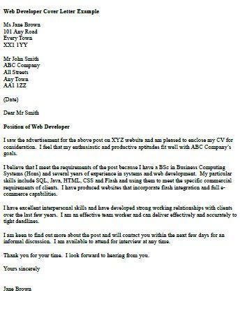 Web Developer Cover Letter Example Cv Pinterest Cover letter - web developer cover letter
