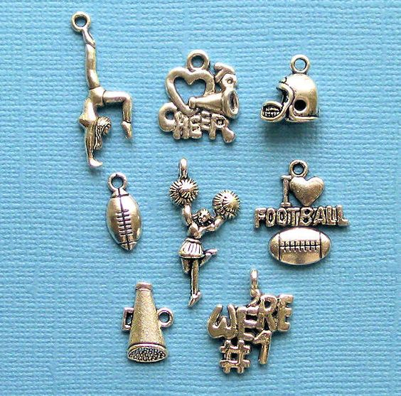 Cheerleader Charm Collection Antique  Silver by BohemianFindings