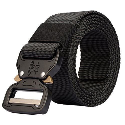 Tactical Belt Metal Buckle Waist Belt Adjustable Military Style Nylon Woven Belt