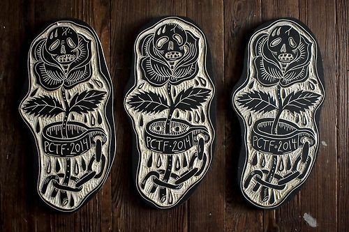 Tattoo of the day trophies for The Pagoda Tattoo Festival. 2014