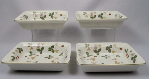 "Wedgwood Wild Strawberry Individual Bakeware Trays/Bowls, 6½"" x 4-3/4"" x 1½"" deep. $69.50 ea, 4 available at vintagetabletop on ebay, 5/14/16"