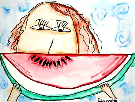 replace watermelon with something that makes you smile.  Kids can learn to draw part of face without the worry of drawing the whole thing and each child will have a chance to show something about themselves in the art work.