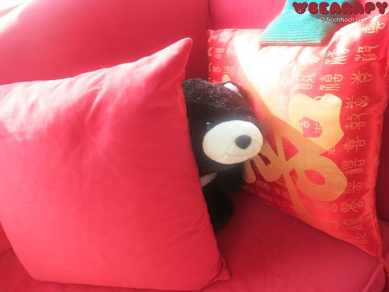 Between cushions. Gund Snuffles. By Noch Noch the Bearalist at Bearapy. http://Bearapy.me