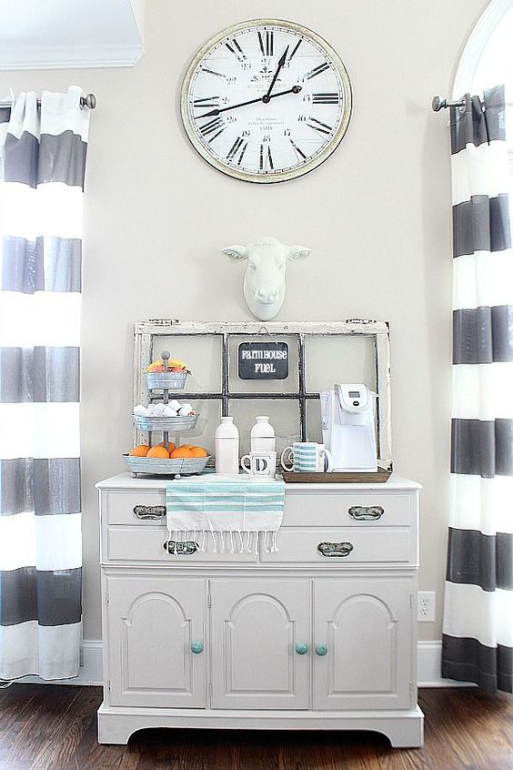 Simple Farmhouse Style Coffee Bar with a Pop of Aqua to Add Some Color