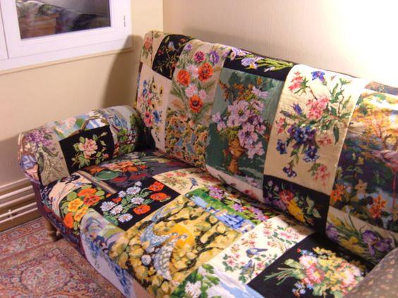 soyons-suave: Que faire de suave avec un canevas déjà fait ? REcycled needlepoint / tapestry sofa in floral still life.