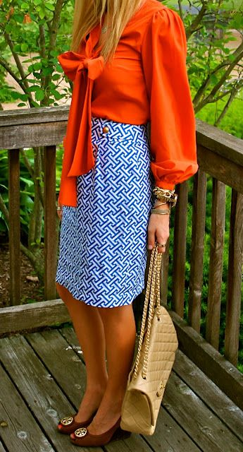 color. pattern.: Auburn Outfit, Orange Blue, Bow Blouse, Teacher Outfit, Pencil Skirts, Work Outfit, Patterned Skirt