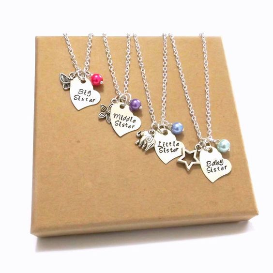 Sister Necklace Set Personalised Sister Necklaces by FunkyPinks