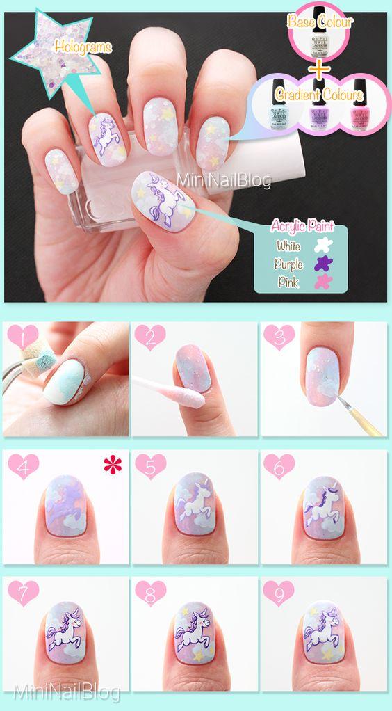 Unicorn Nail Art Check out the full tutorial of this design: https://nailbees.com/unicorn-nail-art