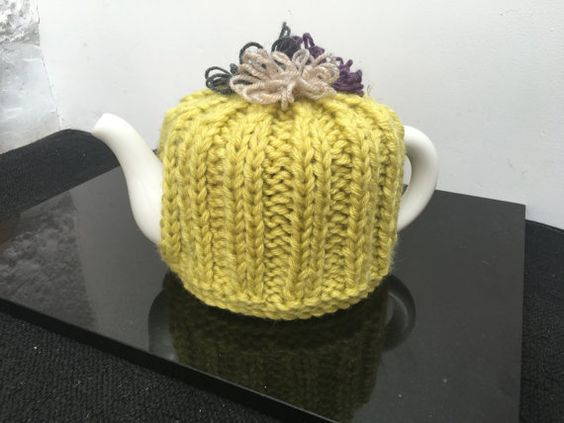 Lime Green Handmade Knitted Teapot Cosy with by LucysPatternBox