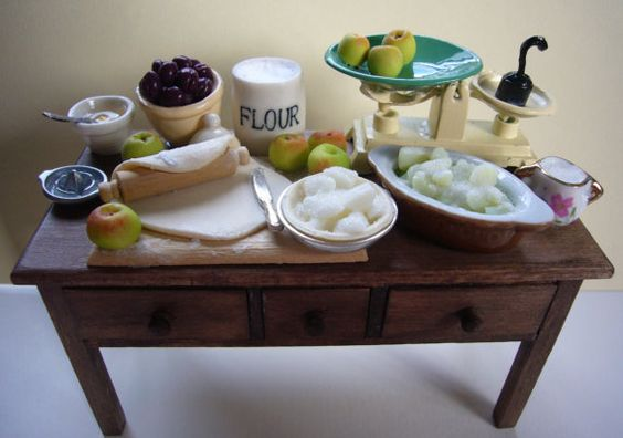 Lets make fruit pies - another hand made 12th scale table