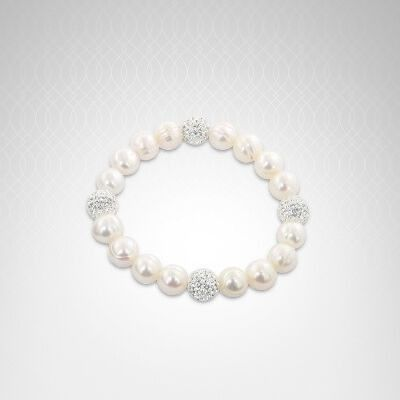 Honora Sterling Silver 9-10mm White Round Ringed Freshwater Cultured Pearl and 10mm Pave Crystal Bead 7.25-7.5 in. Stretch Bracelet