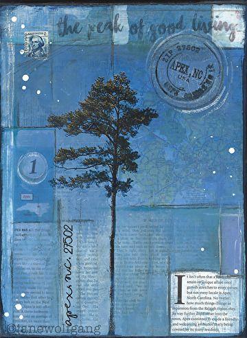 Carolina Pines (Apex, NC) by Jane Wolfgang Mixed Media ~ 12 x 9