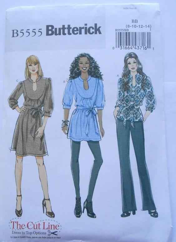 Butterick B 5555 Misses/Plus Fall & Winter Easy Top Tunic Dress & Belt Size 8-24 #butterick #TopTunicDressBelt