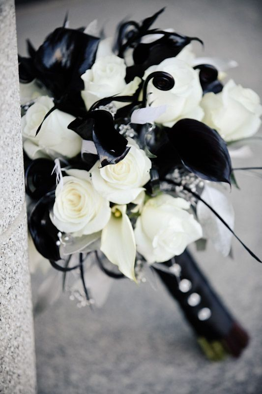 white and black wedding bouquet: