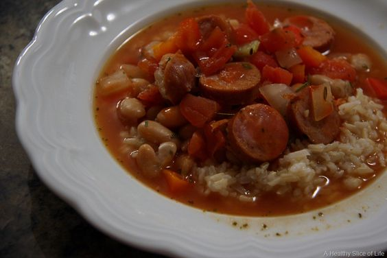 Sausage and Beans over rice - (A Healthy Slice of Life)
