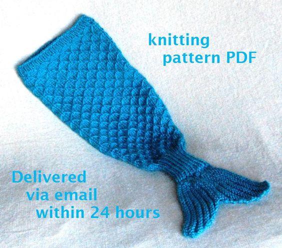Knitting Pattern For Mermaid Blanket Free : Mermaid Tail Cocoon Knitting Pattern -- Charming Newborn Photo Prop -- PDF Nu...