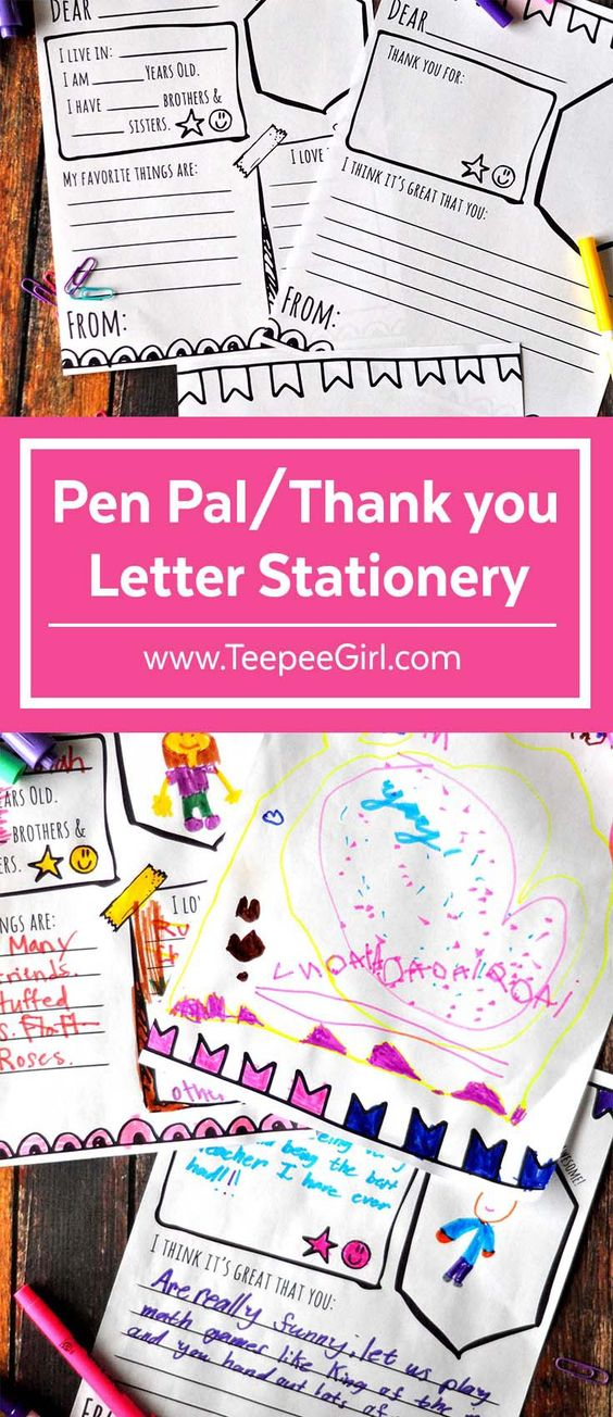 Pen Pal Thank You Letter Stationery - admiration letter