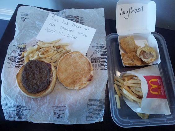 this food does NOT decompose. someone left fast food in our house before we moved in- it looked brand new. disgusting.