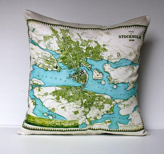 vintage map city map STOCKHOLM map cushion by mybeardedpigeon, $55.00