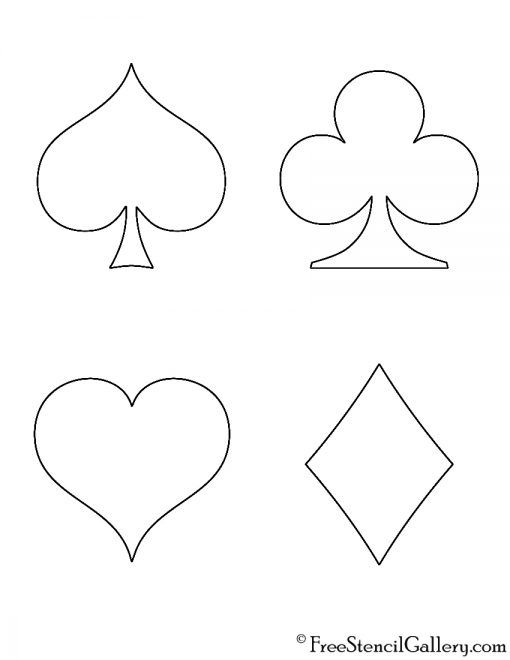 Playing Card Suits Stencil Free Stencil Gallery Playing Cards Art Printable Playing Cards Playing Card Tattoos