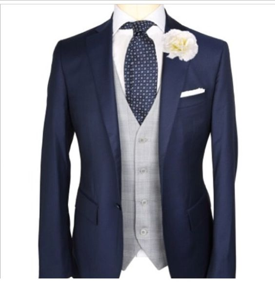 Blue suit. Grey waistcoat #suit #wedding | men suits | Pinterest